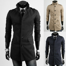 Windbreaker Casual Solid Color Trench Coat Men Classic Single Breasted Mens Long Masculino Clothing Jackets Coats