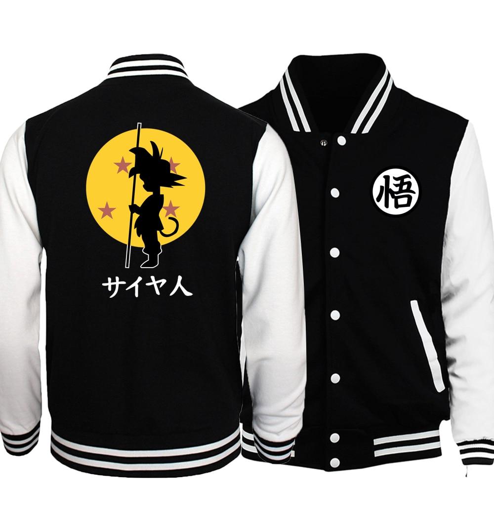 Anime Jacket Dragon Ball Baseball Uniform Men 2018 Dragonball Super Saiyan Harajuku Jackets Black White Plus Size 5XL Coat Homme