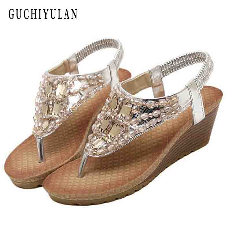 GUCHIYULAN Brand 2017 Bohemia Wedge Women Sandals Summer Vintage Rhinestone Woman Flip F ...