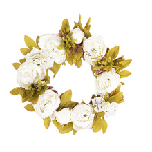 Boutique Artificial Peony Plant Wreath Silk Flower Door With Green Leaves For Front Wall Hanging Home Decor