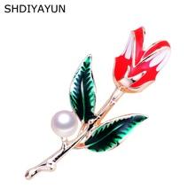 цена на SHDIYAYUN New High Guality Pearl Brooch Tulips Flower Brooch For Women Enamel Brooch Pins Natural Freshwater Pearl Jewelry G