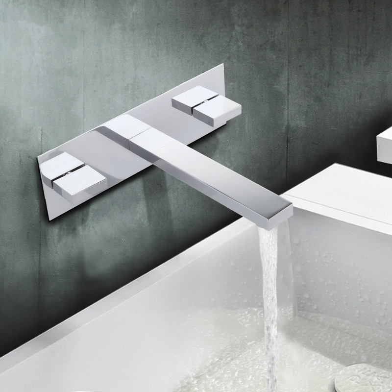 in wall mounted bathroom faucet unique three wholes basin mixer tap new wholesale solid brass