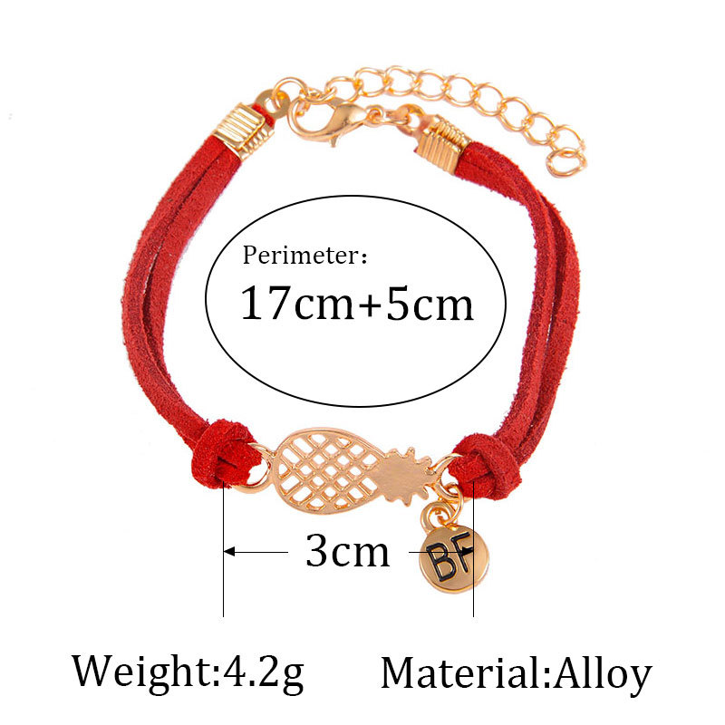 Bohemian Style leather Bracelets For Women metal pineapple 39 BF 39 pendant 7 Color Leather Chain Bracelets Men Jewelry pulseras 2018 in Charm Bracelets from Jewelry amp Accessories