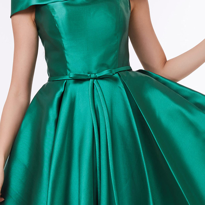 Tanpell od ramena koktel haljina tamno zelena koljena duljine line - Haljina za posebne prigode - Foto 4