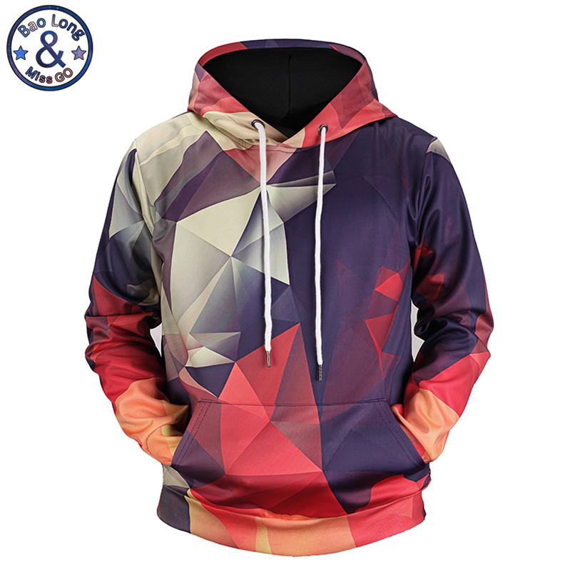 Mr. BaoLong top design Diamant nähte grafiken bunte 3D printed männer kapuzen hoodies 2018 herbst winter dünne sweatshirt H69