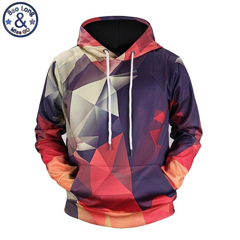Mr. BaoLong top design cucitura a Diamante grafica colorata 3D stampato con cappuccio da uomo hoodies 2018 autunno inverno felpa sottile H69
