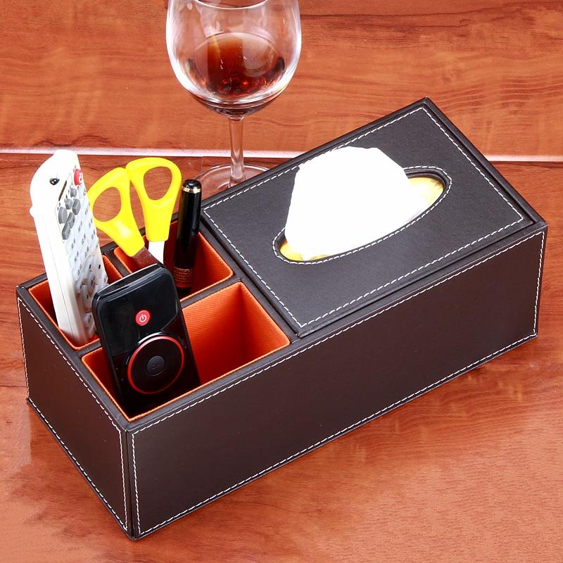 Fashion Home Leather Multifunctional Box Tissue Pumping Box Living Room  Coffee Table Remote Control Storage Box ...