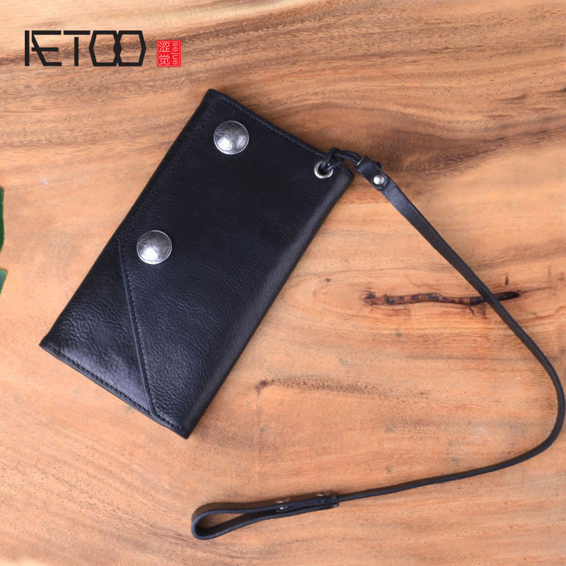 AETOO Retro multi-card wallet men's long section youth ultra-thin soft leather Japanese and Korean version of the personality 0 free shipping creative personality skull graffiti tide male leather wallet long section of korean women wallet wallet youth
