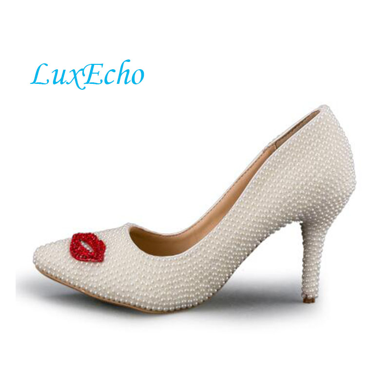 Fashion red lips rhinestone white pearl bridals wedding shoes pointed toe single shoes girl party shoes 8cm heel shoes women 2016 new fashion wedding shoes for lady pointed toe pink multi crystal party dresses shoes rhinestone high heel single shoes