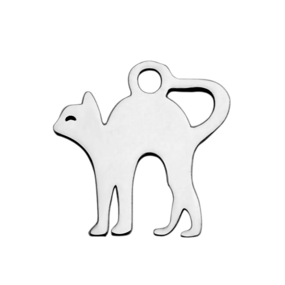 Fnixtar Polishing Jewelry Cat Charm Stainless Steel Charms Pendant For Women Bracelet Necklace Jewelry Making 20pcs/lot