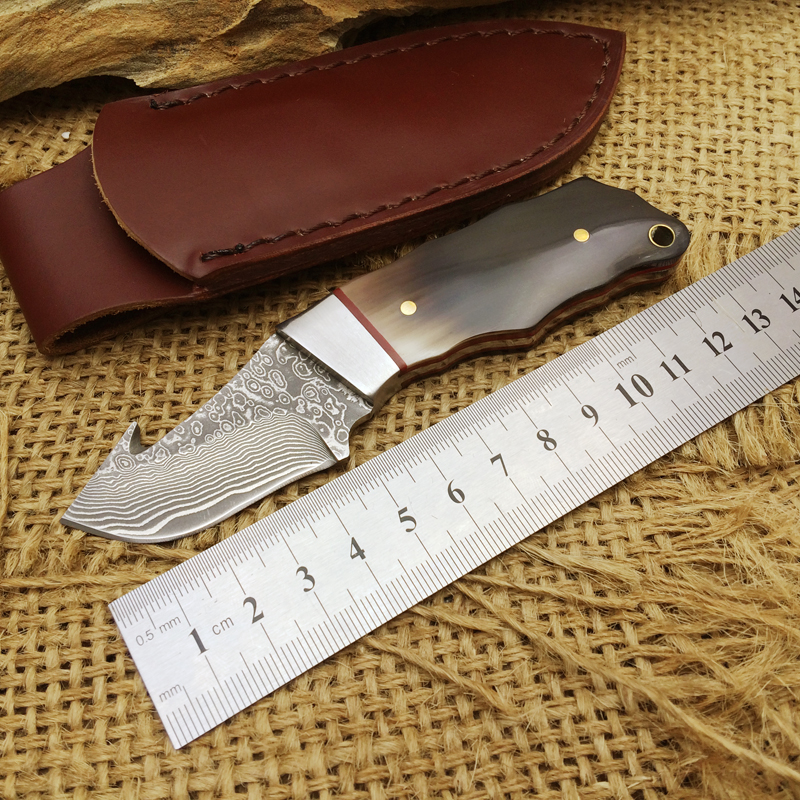 Collection Damascus Fixed Blade Knives,Ox Horn Handle Camping Knife,Small Hunting Knife. цена 2017