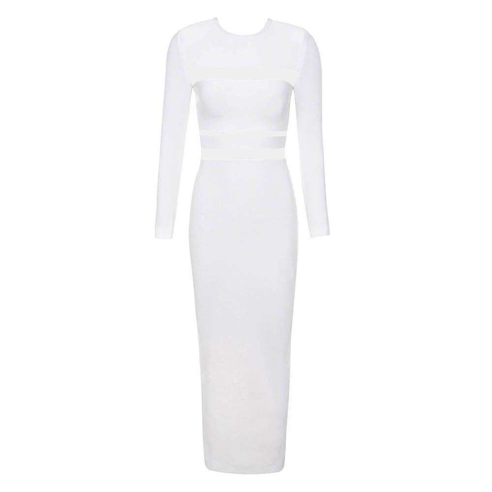 Femmes mode 2019 nouveau blanc à manches longues O cou maille Patchwork évider Vestidos longueur de plancher Split célébrité Bandage robe