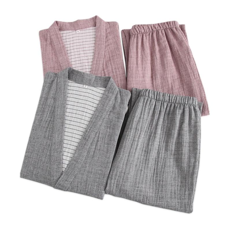 Japanese Couple Kimono Robes Men And Women Pajama Sets Quality 100% Gauze Cotton Robes Male Sauna Bath Robe Suits Indoor
