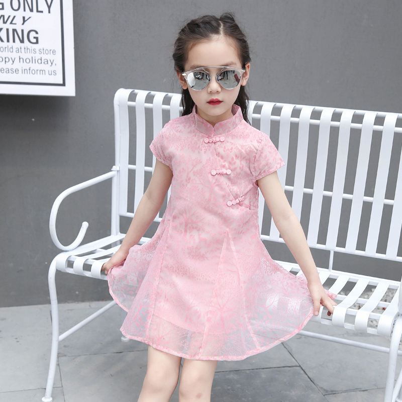 Summer Chinese Traditional Dress Vintage yarn Girls Dresses Cheongsam Wedding Party Costume Children Clothing dress coat traditional chinese style qipao full sleeve cheongsam costume party dress quilted princess dress cotton kids clothing