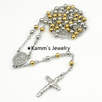 6mm Rosary Beads stainless steel Silver Gold Chains pendant necklace Cross Jesus Womens Mens accessories Wholesale Retail KN086