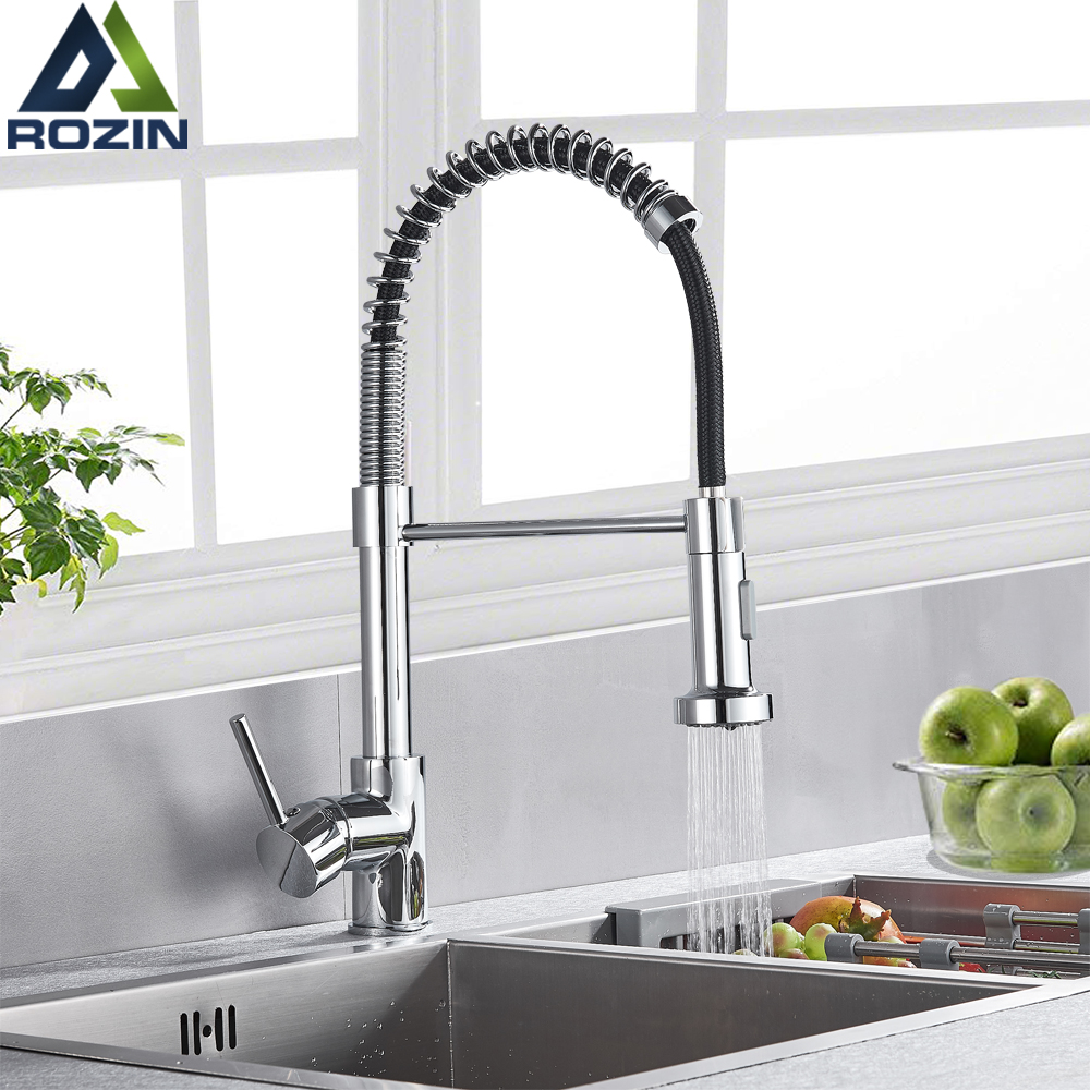 Chrome Kitchen Faucets Brass Faucets For Kitchen Sink Single Lever Pull Down Spring Spout Mixers Tap Hot Cold Water Crane