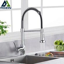 Mitigeur à bec à ressort à levier unique, robinets de cuisine chromés, robinets en laiton pour évier de cuisine, robinet mitigeur eau chaude et froide