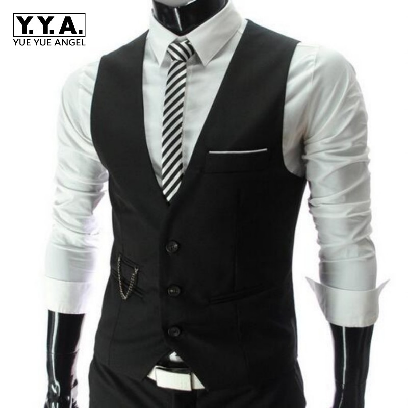 New High Quality Dress Vests For Men Slim Fit Mens Suit Vest Male Waistcoat Gilet Homme Casual Sleeveless Formal Business Jacket