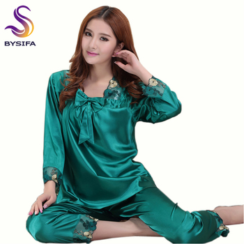 [BYSIFA] Summer Ladies Nightgown Pajamas Set Home Apparel Sleep Lounge Women Dark Green Embroidery Silk Sleepwear Long Sleeves 2