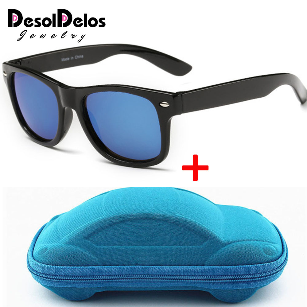 Cool 6-15 Years Kids Sunglasses Sun Glasses for Children Boys Girls Fashion Eyewares Coating Lens UV 400 Protection With Case(China)