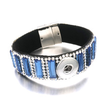 Hot Crystal Magnet 076 Rhinestones Velvet Leather Fit 18mm Snap Button Jewelry Charm Bracelet For Women  Teenagers Gift 20cm