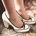 2015 señoras del resorte mujeres verdadera del cuero genuino bombea gruesos tacones altos plataformas zapatos de las mujeres de moda atractivos del partido P1892
