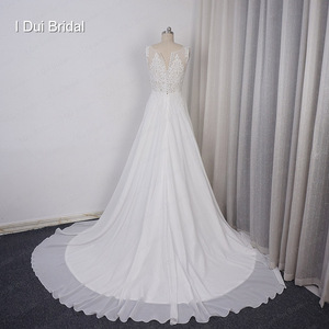 Image 4 - Chiffon A line Wedding Dress V Neckline with Lace Appliques Beaded Illusion Back with Button