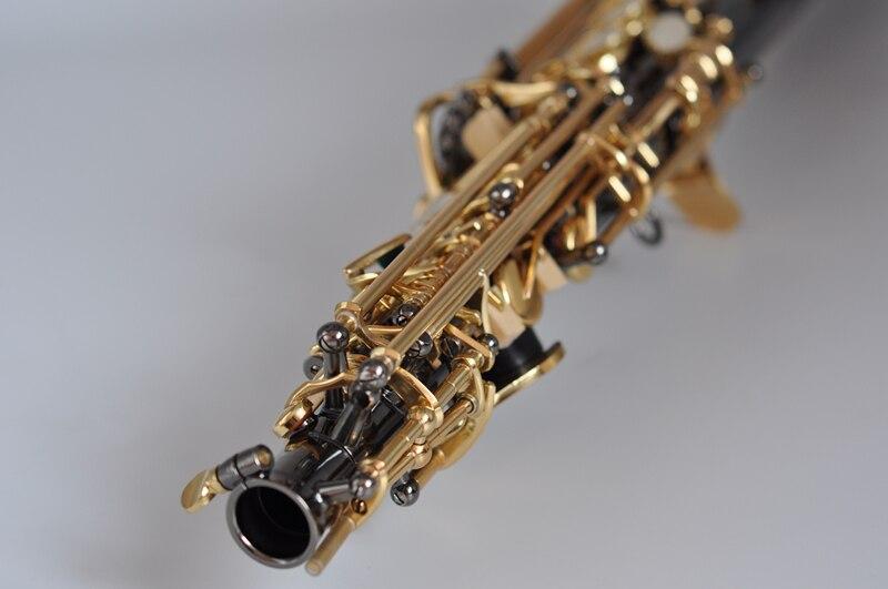 França soprano saxofone bb r54 instrumento de vento sax preto níquel ouro saxofone instrumentos musicais alta qualidade - 4