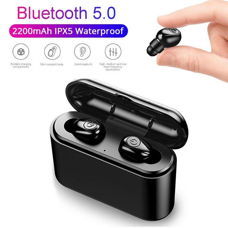 Bluetooth Earphone TWS Wireless Earphones Bluetooth 5.0 Headphones Stereo Earbuds Headset with Charging Box 2200 mAh Power Bank