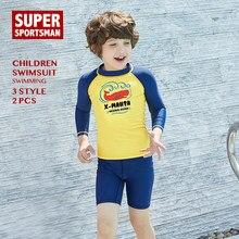14a70c8a28 Toddler Boys Swim UPF50+ Rashguard Kids UV Protection Swimwear Baby Cartoon  Shark Surfing Swimsuits Children Surf