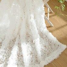 2016 New Korean Roses Curtains 3d Curtain Romantic Style Short Translucidus  Tulle Curtains Cortinas Living Room