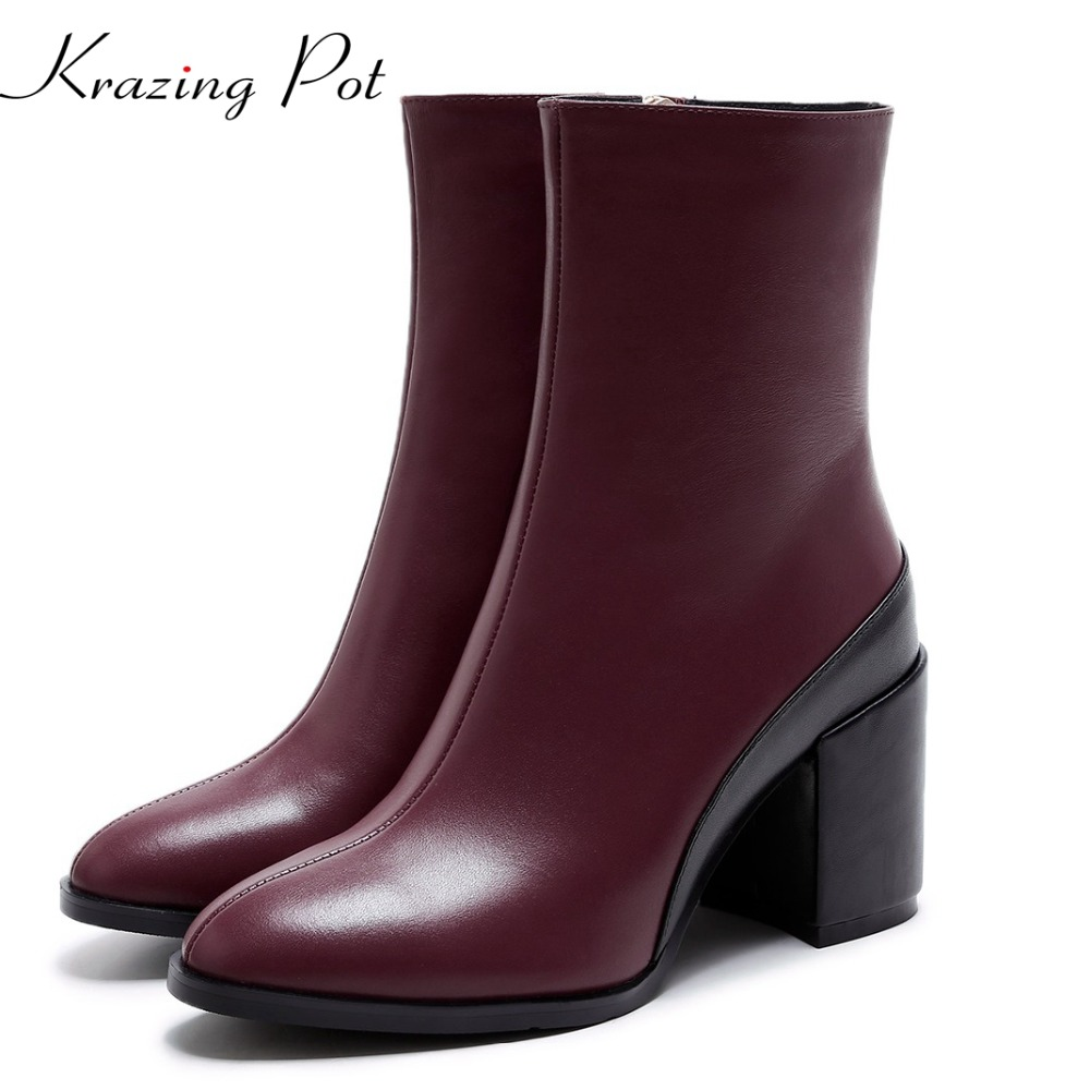 Shoes women round toe women genuine leather personality office lady solid thick high heels causal winter ankle hollow boots L73 yaerni 2017 retro style women shoes flats platform handmade flower genuine leather thick heels round toe women causal shoes