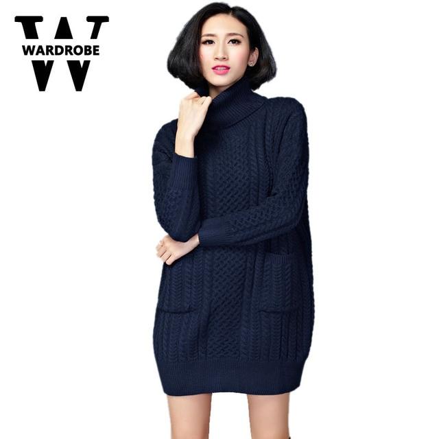 a5a0a7edead Wardrobe Winter Women Turtleneck dress lady wool sweater dress feminine Knitted  Navy Khaki Red Wine red plus size 5XL 6XL dress