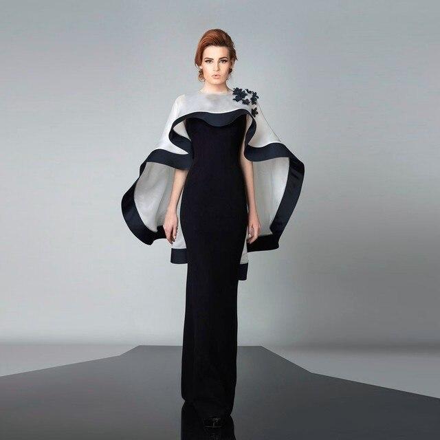 d91a0ee205 Czarna Suknia Wieczorowa z Białym Peleryna sukienka abayas Aplikacje Długa  Szata De Wieczór Wycięciem Satin Suknia