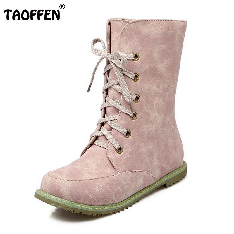 TAOFFEN New Woman Round Toe Flat Mid Calf Boots Women Fashion Lace Up Martin Boot Spring Autumn Winter Shoes Footwear Size 30-48 women fashion round toe martin boots woman brand new lace up flat ankle boot ladies buckle wrap footwear shoes size 34 47