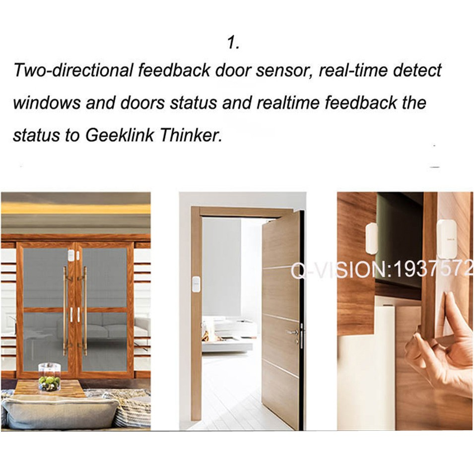 Geeklink Two-Way Feedback Door Sensor Contact Wireless Door Window Magnet Entry Detector Sensor For Smart Home Alarm Security Thinker RemoteBox 3s Extension IP camera-1