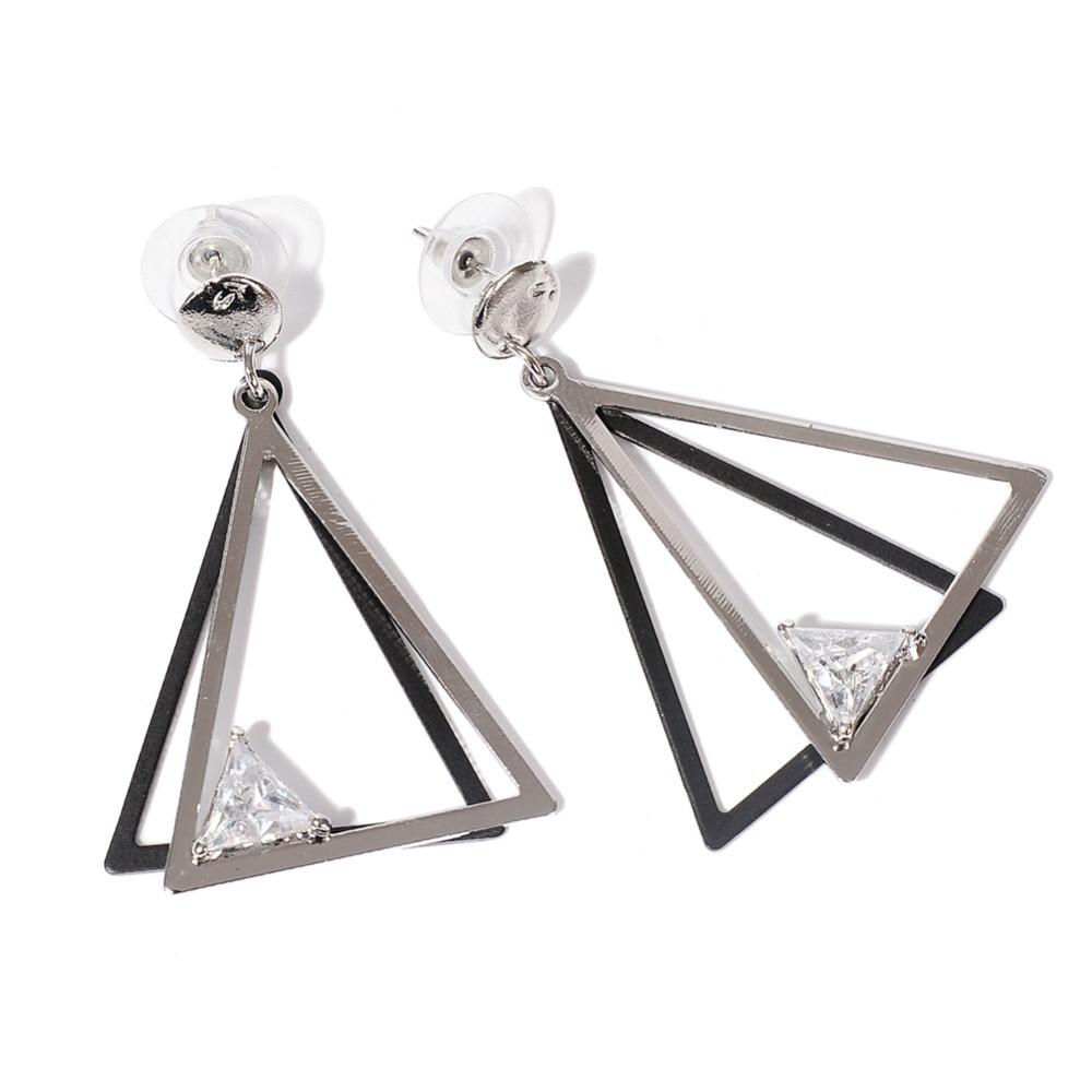 Fashion Geometric Stud Earrings Stereoscopic Triangle Rhinestone Earrings Female Fine Earrings Jewelry