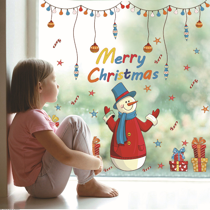 Large Christmas Tree Snowman Christmas New Year Shop Window Wall Sticker Christmas Decorations New Year Decor Poster