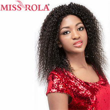 Miss Rola Pro-colored Hair Remy Hair Brazilian 100% Hair Curly Wigs for Women Lace Wigs #1 Free Shipping