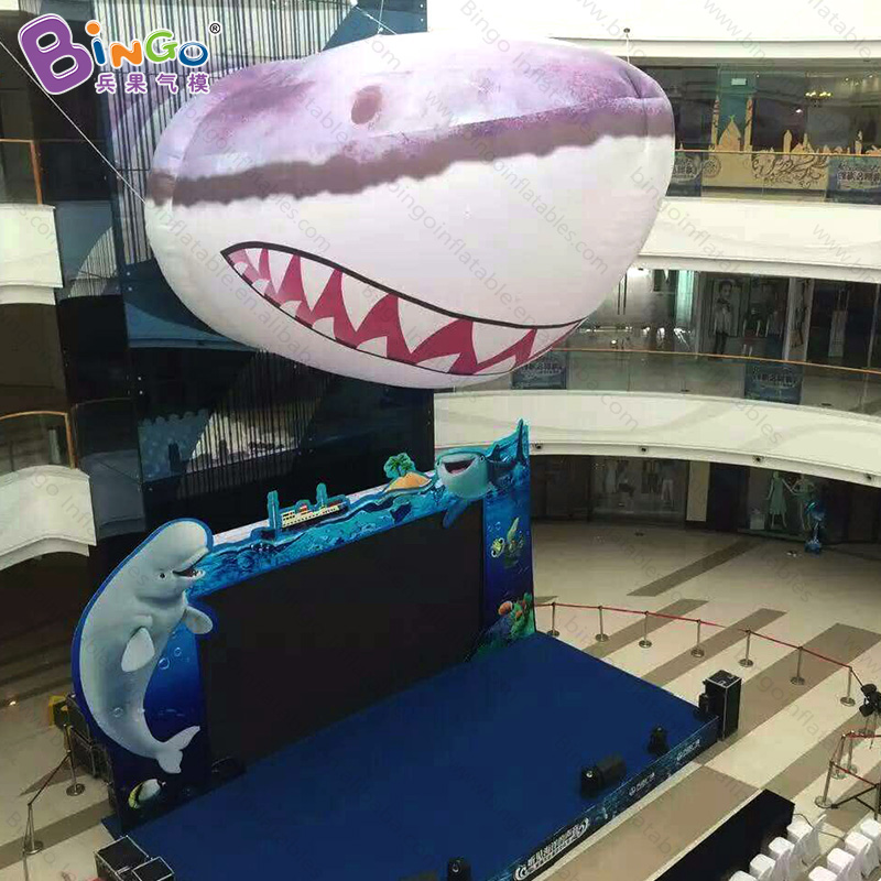 Shopping mall decorative 8m giant inflatable shark head decoration figure model-inflatable toy mr froger carcharodon megalodon model giant tooth shark sphyrna aquatic creatures wild animals zoo modeling plastic sea lift toy