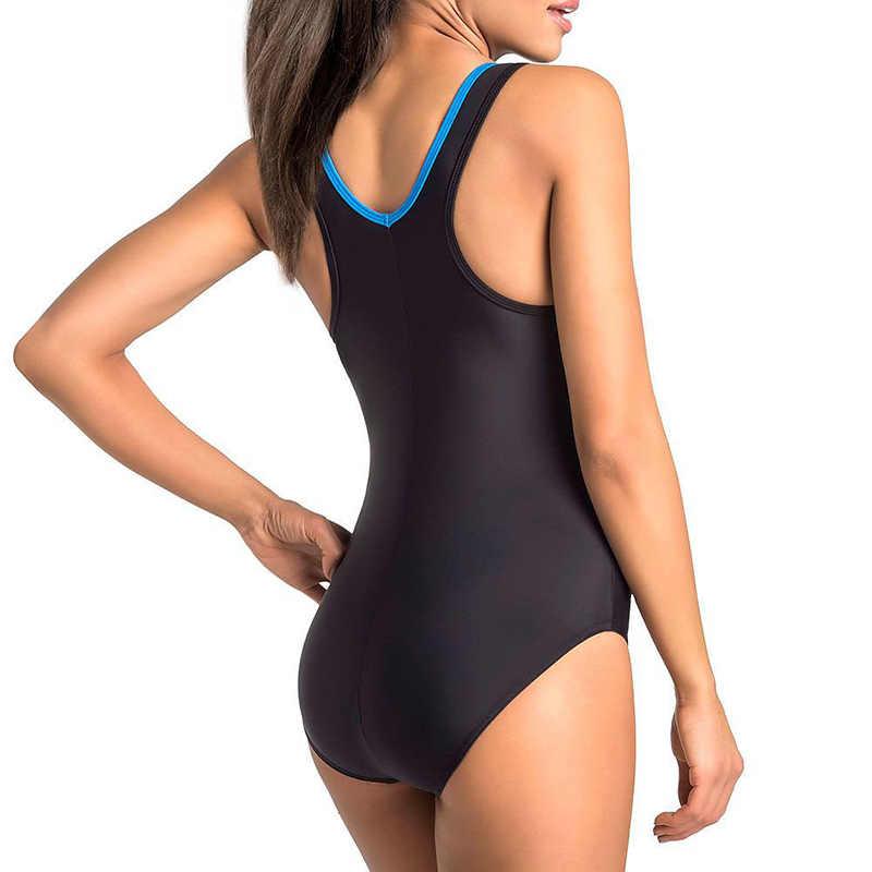 2019 Sport One Piece Swimsuit Kompetisi Baju Renang Wanita Garis Geometris Olahraga Profesional Mandi Olahraga Kolam Renang Pelatihan S