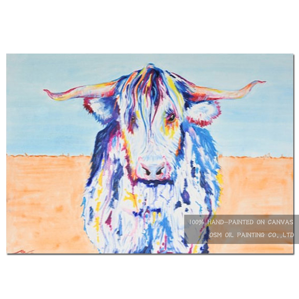 Artist Hand painted High Quality Abstract Animal White Bull Oil Painting On Canvas Modern Colors America Bull Oil Painting