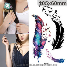 Harajuku Waterproof Temporary Tattoos For Lady Women Beautiful 3d Colours Feather Design Tattoo Sticker RC2239
