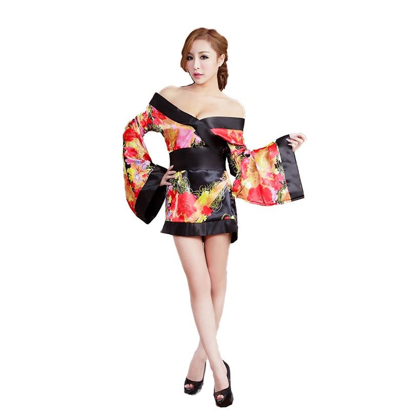 2017 Hot Femal Sext Nightdress Black Color Japanese Kimono -9094