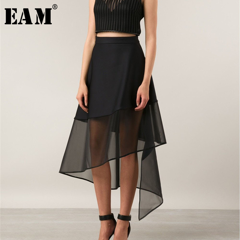 [EAM] 2020 Spring Summer Woman Temperament Stylish Black High Waist Spliced Mesh Irregular Perspective Half Body Skirt LE460