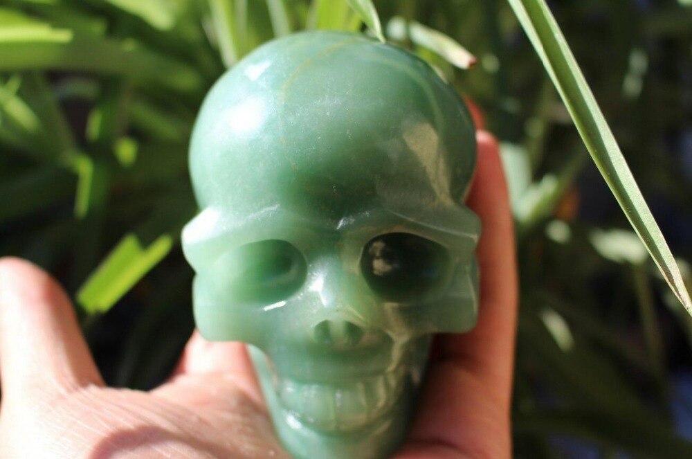 TOP!!! Cristal de Jade Aventurine vert naturel RARE crâne sculpté guérison