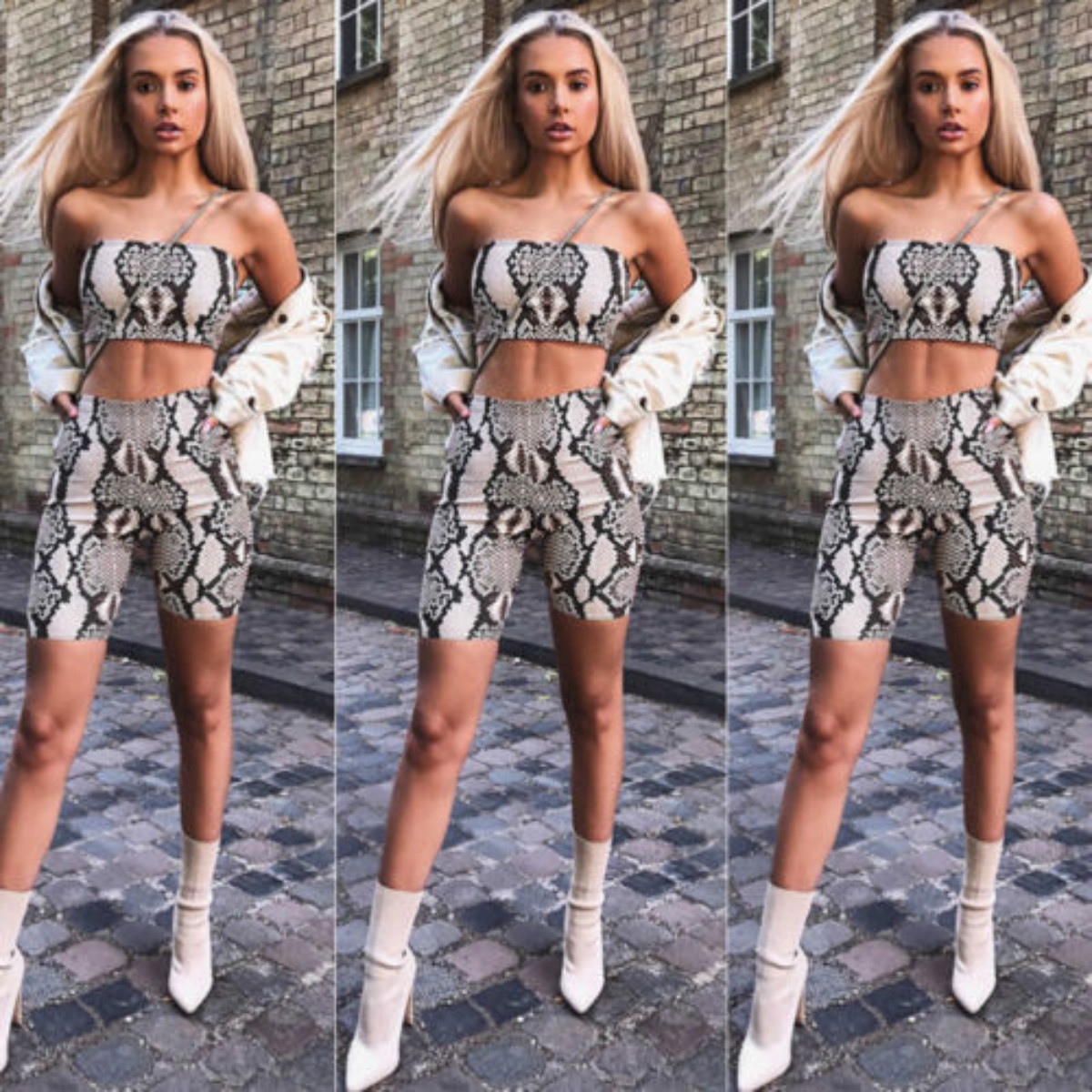 9dabac0da7baa Women 2 Pieces Bodycon Crop Strapless Sleeveless Sexy Snakeskin Skinny Tube  Top+Shorts Summer Beach Set Outfits-in Women's Sets from Women's Clothing  ...