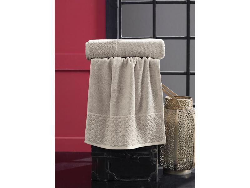 Towel bath KARNA, PONPON, 70*140 cm, беженый towel bath santalino with рождением доченьки 70 140 cm