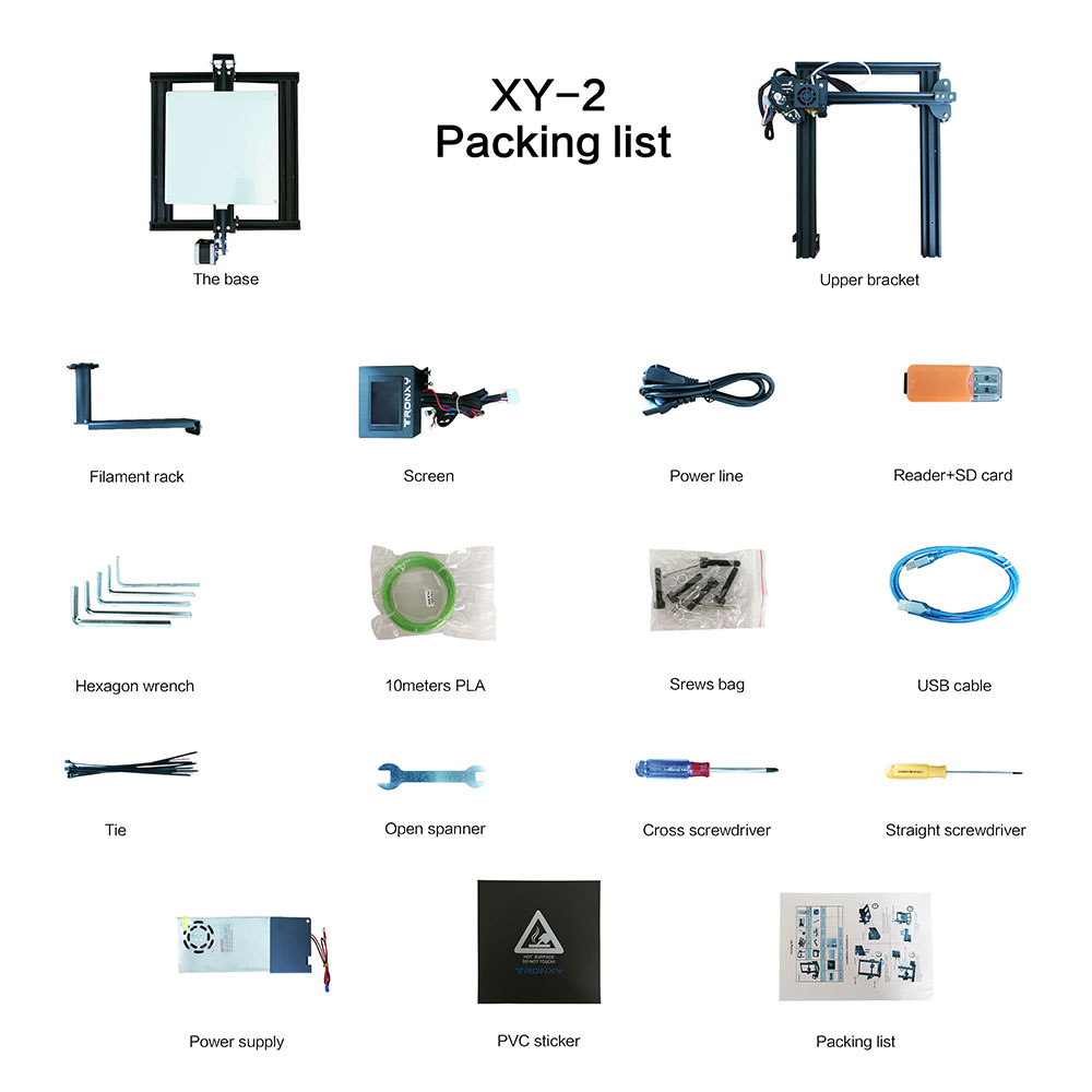 Image 5 - Tronxy XY 2 Fast Assembly Full metal 3D Printer 220*220*260mm High printing Magnetic Heat Paper 3.5 Inches Touch Screen-in 3D Printers from Computer & Office