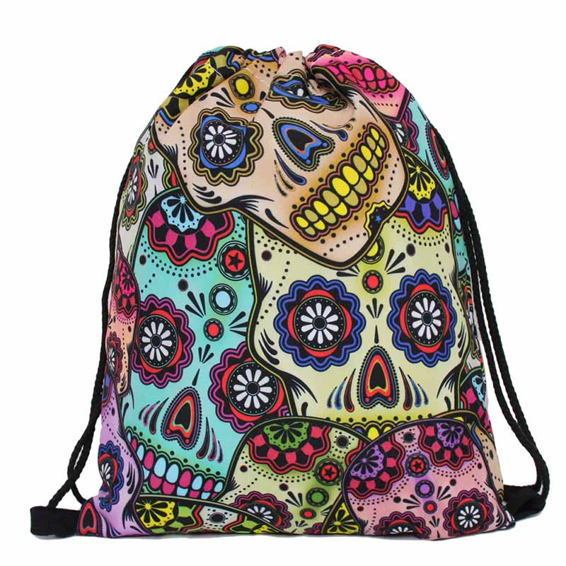 Beach Polyester Women Men Travel Storage Package Teenagers backpack Sack Bags Shopping Bag Coin Purse Christmas
